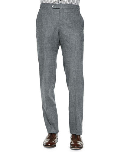 Wool-Flannel Trousers, Gray