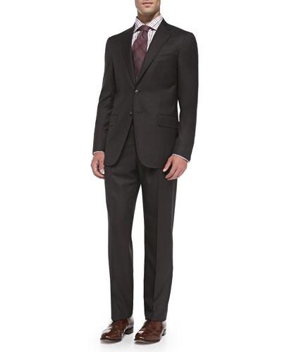 Houndstooth Super 140's Suit, Brown