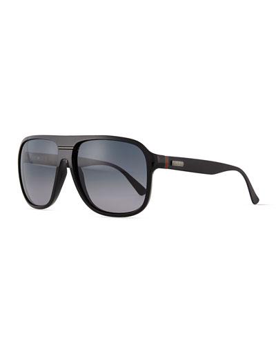 Plastic Rounded-Frame Sunglasses, Shiny Black