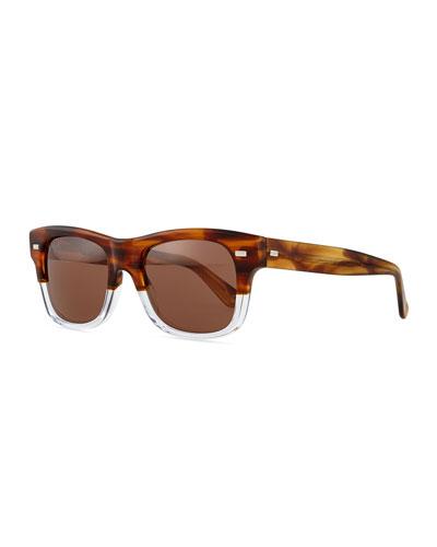Plastic Frame Sport Sunglasses, Havana/Crystal