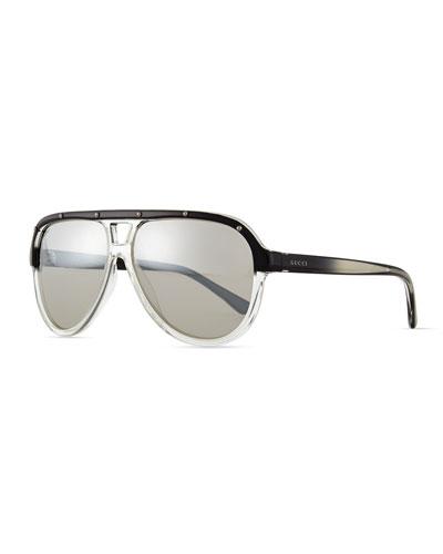 Plastic Aviator Sunglasses, Black/Crystal