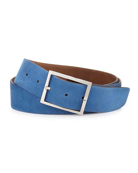 Reversible Suede Belt, Light Brown/Royal Blue