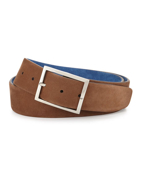 Reversible Suede Belt, Light Brown/Royal Blue