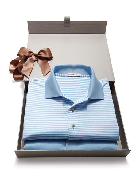 Peter Millar Striped & Solid Polo Box Set, Light Blue