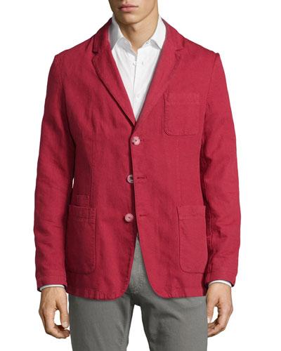 Three-Button Cotton/Linen Jacket, Cherry