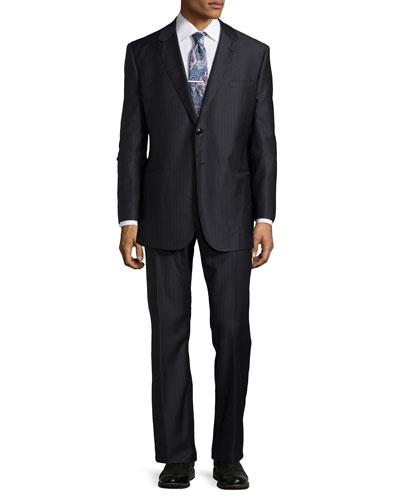 Taylor Striped Two-Button Suit, Charcoal