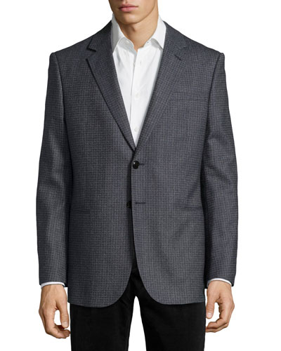 Wool Two-Button Check Jacket, Navy/Gray