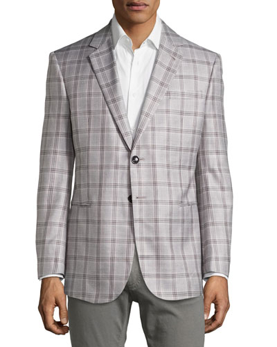 Windowpane Jacket in Silk/Wool Blend, Black