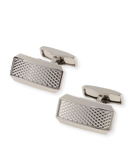 dunhill Avorities Clip Diamond-Pattern Cuff Links