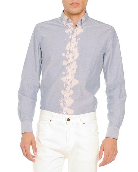 Tomas Maier Bleached-Placket Woven Shirt, Light Blue