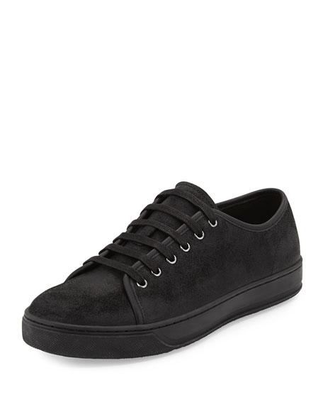 Vince Austin Waxed Leather Low-Top Sneaker, Black