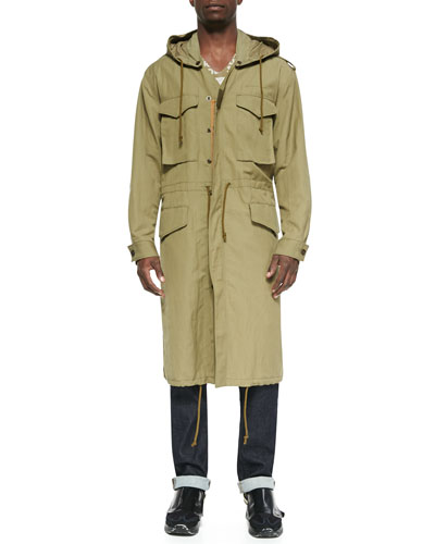 Hooded Long Anorak Jacket, Khaki