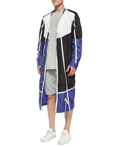 Colorblock Nylon Long Jacket, Black/Blue