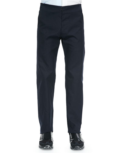 Flat-Front Trouser, Dark Navy