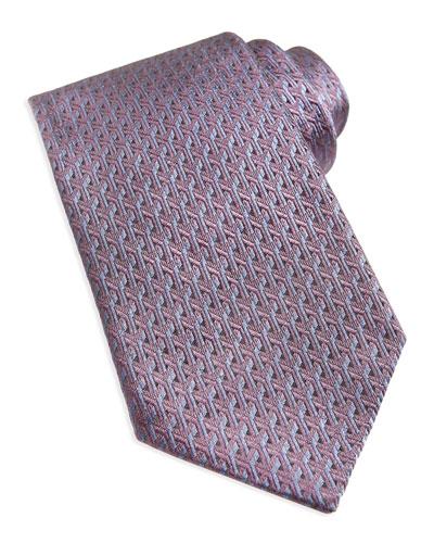 Woven Y-Link Silk Tie, Red
