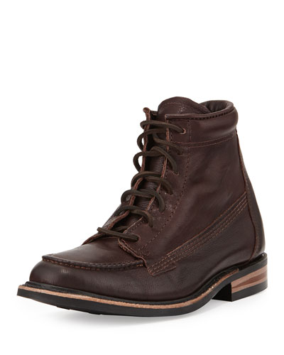 Kaleb Moc-Toe Leather Boot, Chocolat