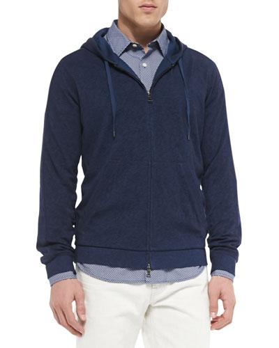 Vintage Melange Jersey Lined Hoodie, Navy