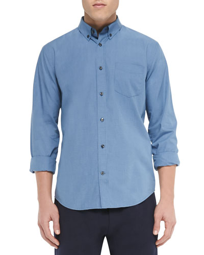 Micro-Gingham-Check Shirt, Blue