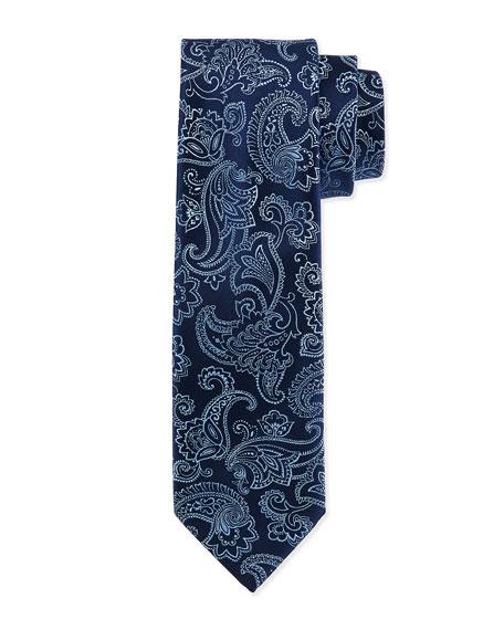 Charvet Floral-Paisley Silk Tie, Blue