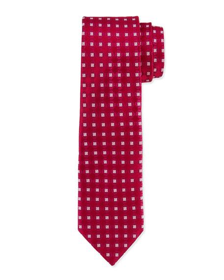 Charvet Square Medallion Silk Tie, Burgundy