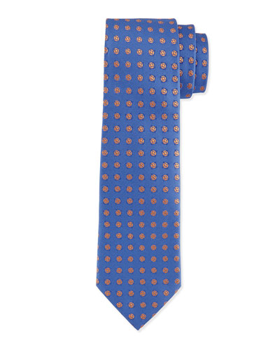 Medallion-Pattern Silk Tie, Blue/Orange