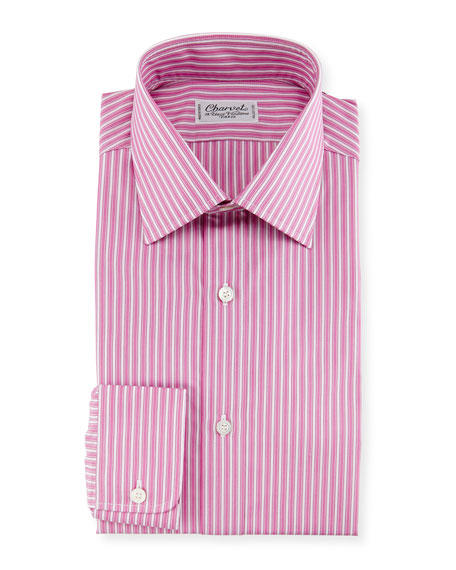 Charvet Ribbon-Striped Dress Shirt, Pink