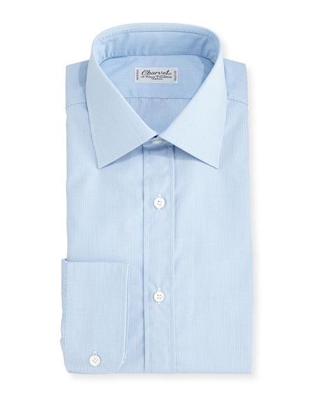 Charvet Tight Plaid Dress Shirt, Blue
