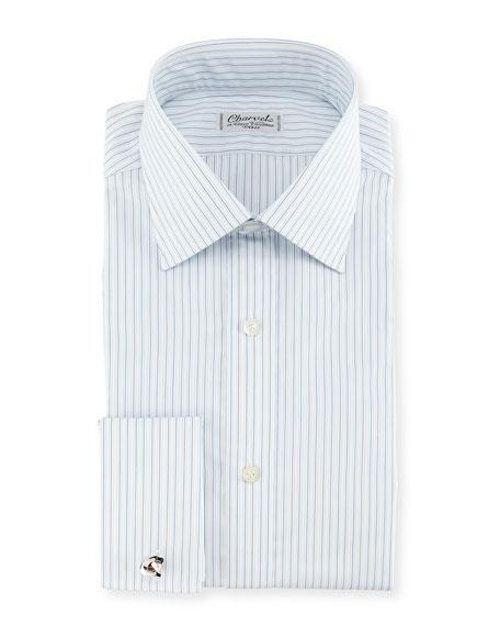 Charvet Shadow Striped French-Cuff Dress Shirt
