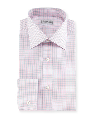 Plaid Twill Dress Shirt, Pink/Blue