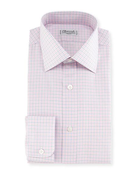 Charvet Plaid Twill Dress Shirt, Pink/Blue