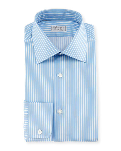 Two-Tone Striped Dress Shirt, Blue/White