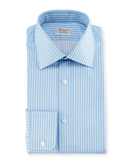 Charvet Two-Tone Striped Dress Shirt, Blue/White