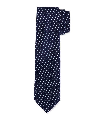 Polka-Dot Silk Tie, Navy/Light Blue