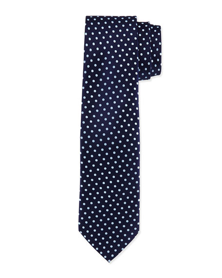 Charvet Polka-Dot Silk Tie, Navy/Light Blue