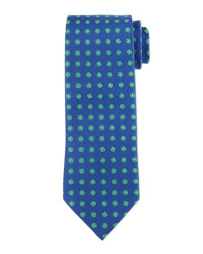 Neat Medallion Pattern Tie, Navy/Green