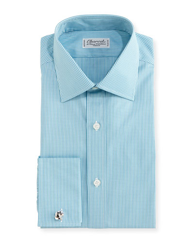 Check French-Cuff Dress Shirt, Aqua