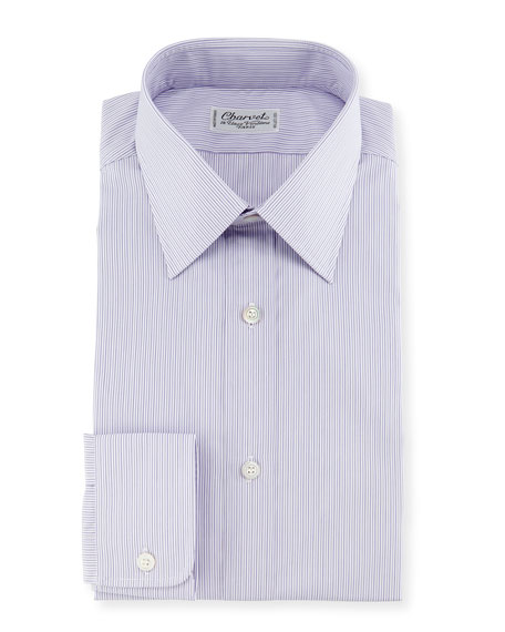 Charvet striped dress shirt purple for Purple striped dress shirt