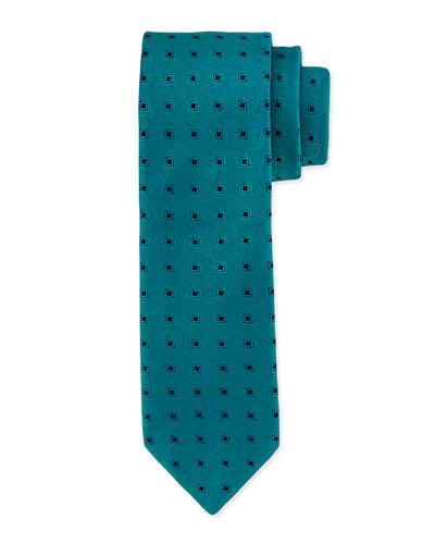 Square Polka-Dot Silk Tie, Green/Navy