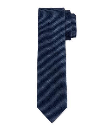 Textured Hairline-Stripe Silk Tie, Blue