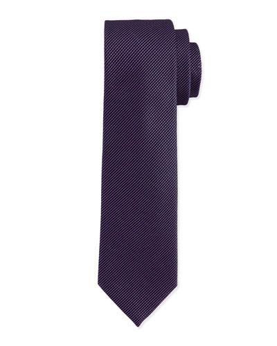 Textured Hairline-Stripe Silk Tie, Navy/Pink