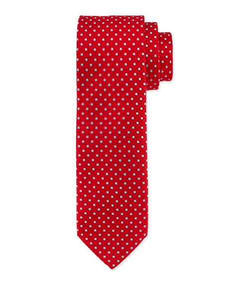 Charvet Venn Circle Silk Tie, Red/Blue