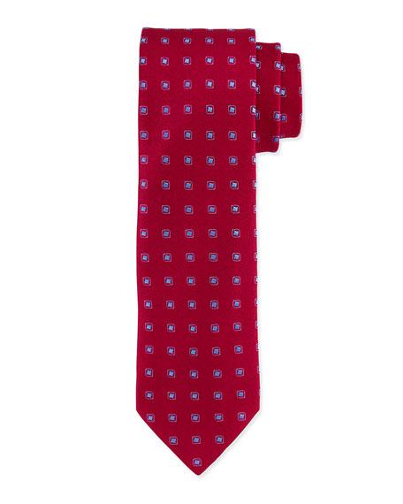 Charvet Square Polka-Dot Silk Tie, Burgundy/Blue
