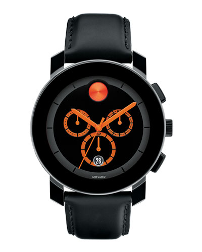 Movado Bold 43.5mm Bold Chronograph Watch with Leather Strap