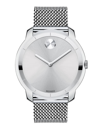 Movado Bold 44mm Bold Watch with Mesh Bracelet, Silver