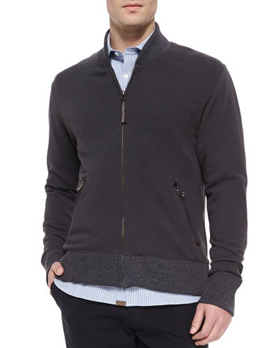 Full-Zip Cotton Jacket, Dark Gray