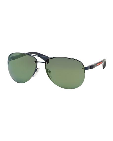 Prada Oversized Aviator Sunglasses, Black/Green