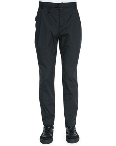 Lightweight Pleated Trouser, Black