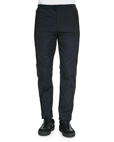 Side-Zip Track Pants, Black