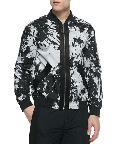 Reversible Tie-Dye Bomber Jacket, Black/White
