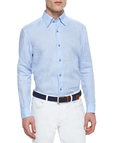 Solid Linen Sport Shirt, Light Blue